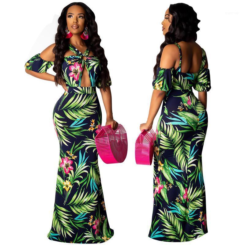 Getäfelten Womens Designer-Kleider beiläufige Frauen Kleidung Blumendruck-Frauen-beiläufige Kleider Mode Unregelmäßige aushöhlen