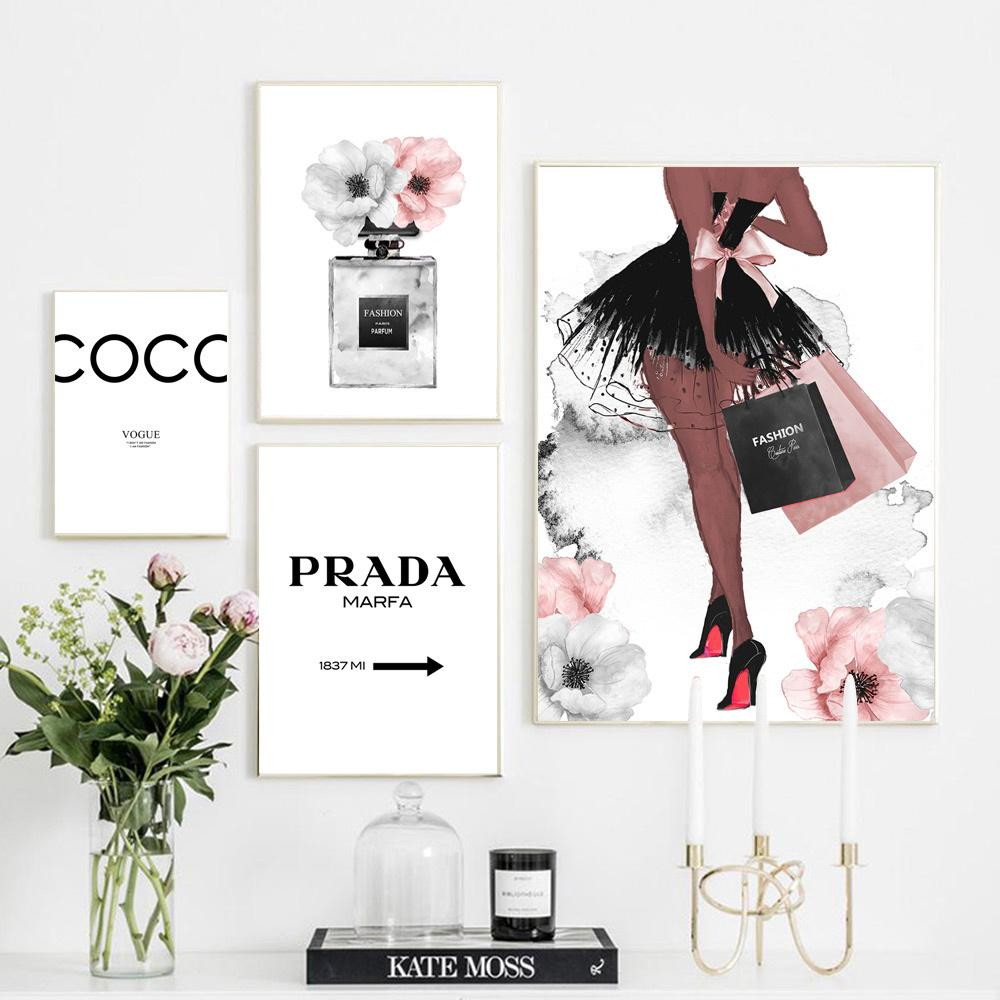 Vogue Poster Perfume Abstract Painting Quotes Perfume Bottle Wall Art Canvas Prints Pink Peony Posters Wall Pictures Home Decor