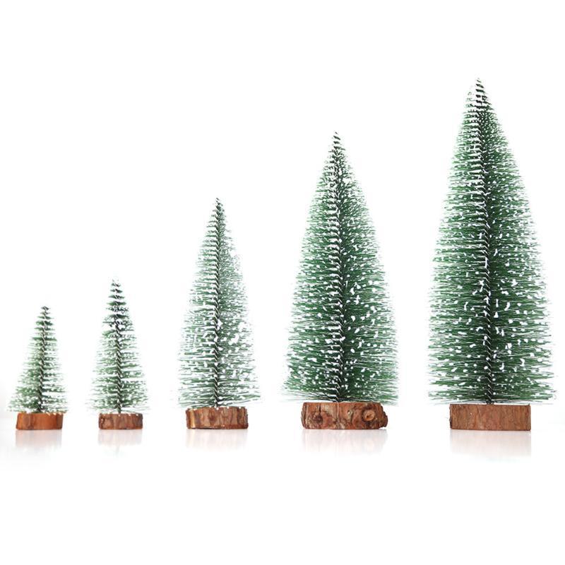 5pcs / set Masa Noel Çam Ağacı Noel Mini Kar Küçük Ağaçlar Düğünler Festivaller Dekorasyon Hediyelik Ahşap + PVC