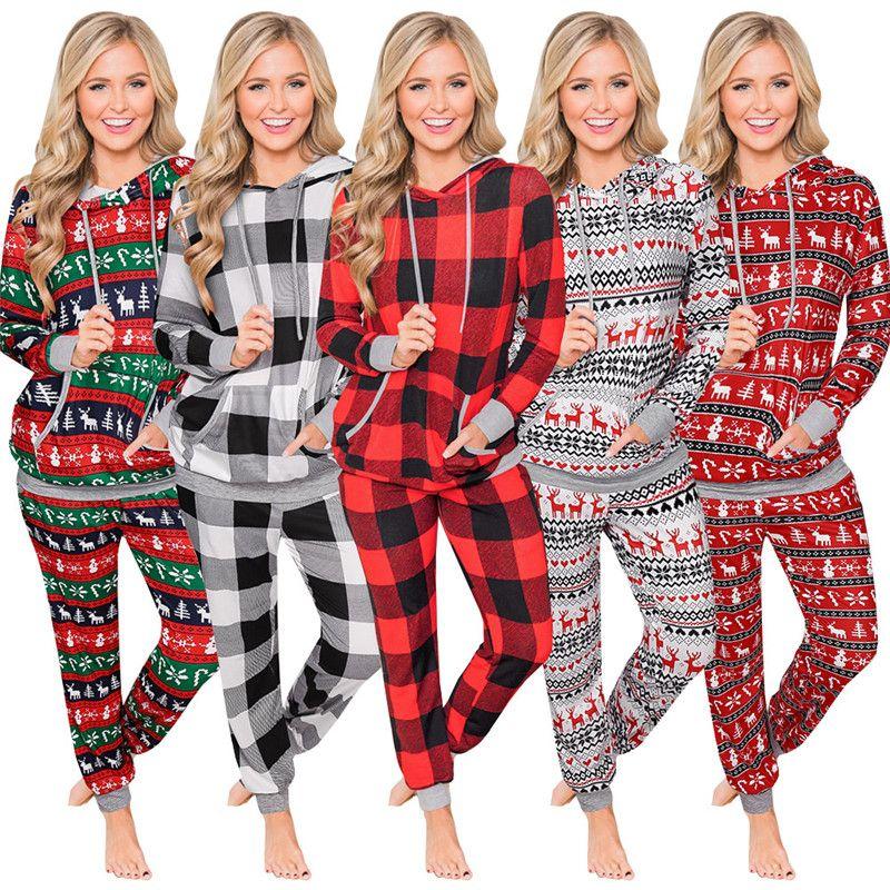2020 женщины Рождества Пижама Набор Ночное Зимних Пледы снеговик Elk Xmas Theme Printed Пижама Set 2 шт Брюки Костюм