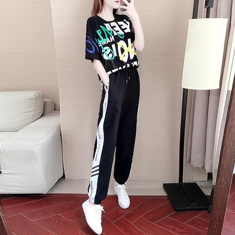 bFMH0 RK5sE yaz elbise kadın spor 2020 yeni kısa kollu Kore tarzı pantolon rahat pantolon rahat pantolon iki parçalı elbise Batı sty gevşek