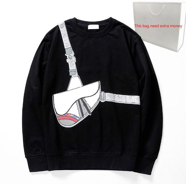 Mode-Kreuz-Beutel-Druck Hoodies 20FW Männer Sweatshirts für Männer Pullover Frühling Pullover mit Kapuze Street Homme Kleidung 2 Farben