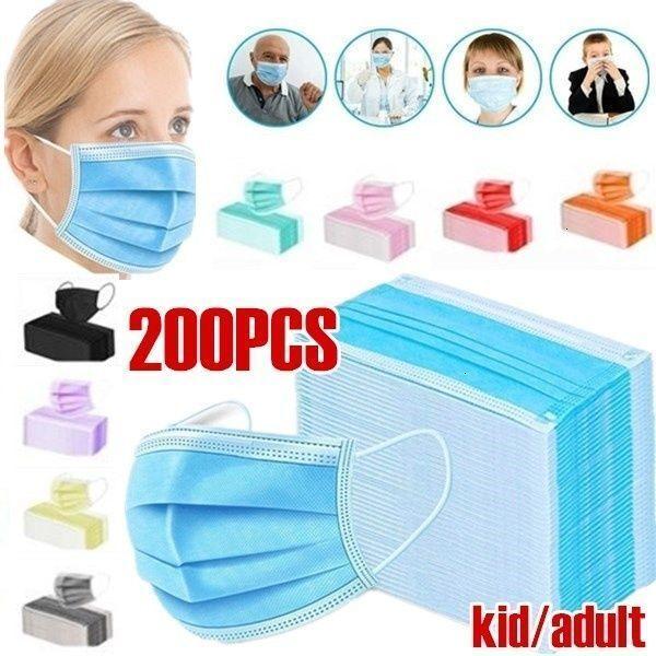 Máscara 200 Pcs 3 camadas duráveis não-tecido à prova de poeira e poluição à prova respirável Ear-enforcamento descartável 50pcs / caixa
