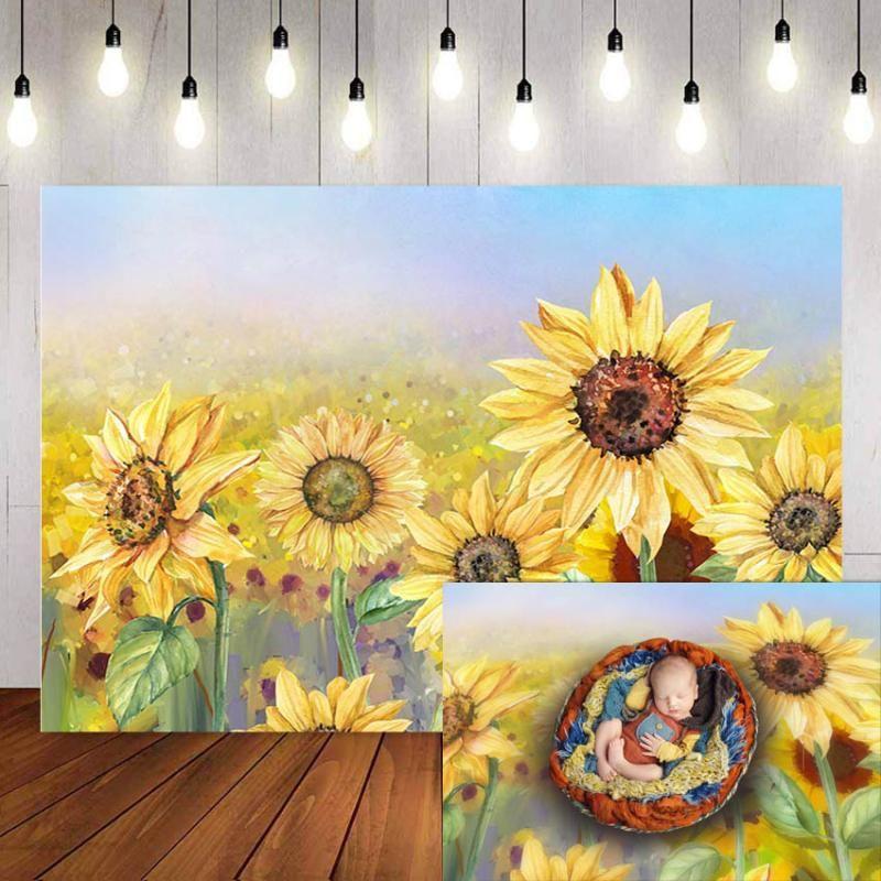 Recién nacido fondo, fotografía bebé de la flor de la fiesta de cumpleaños Estudio Photobooth Contextos el girasol Banner
