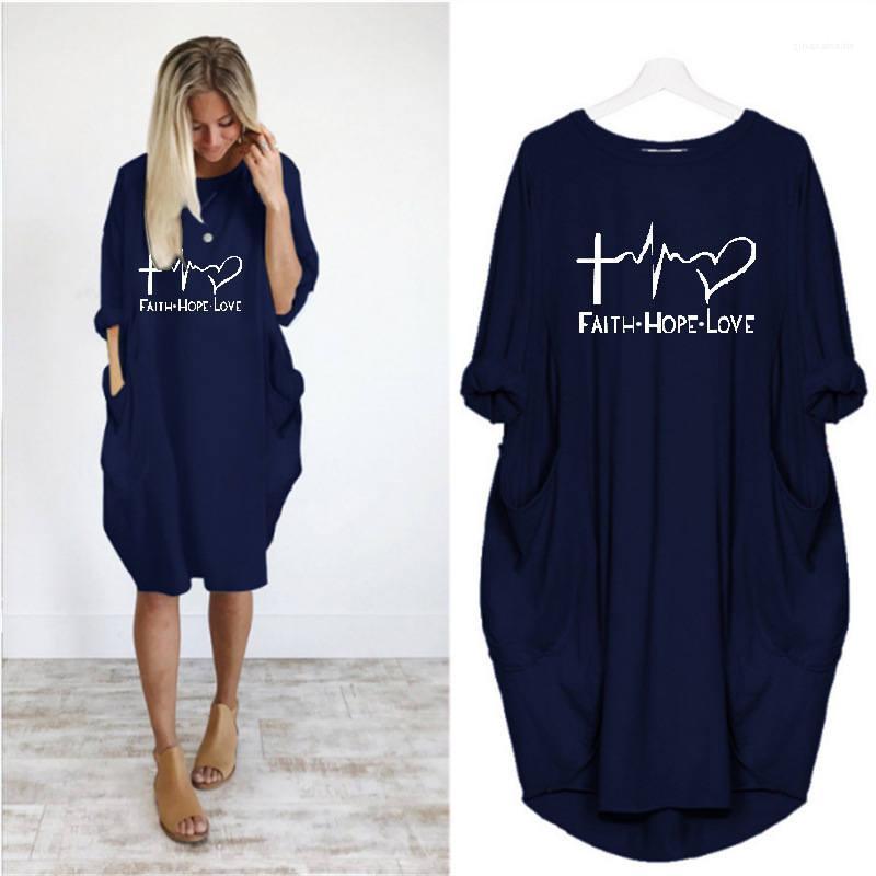 Lettere stampate femminile abito casual allentato Abbigliamento Donna Womens Desinger Abiti Pullover O Collo maniche lunghe Inverno