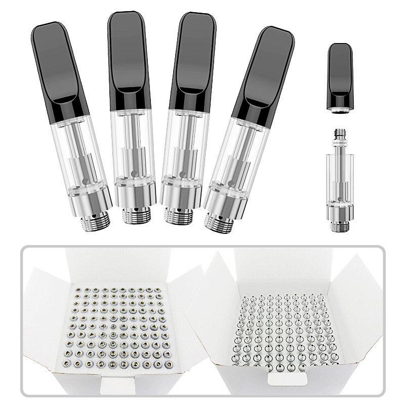 510 Empty Vape Pen Cartridges M6T TH205 Lead-free Ceramic Coil Glass Atomizer Thick Oil Vaporizer Carts With White Black Ceramic Tip