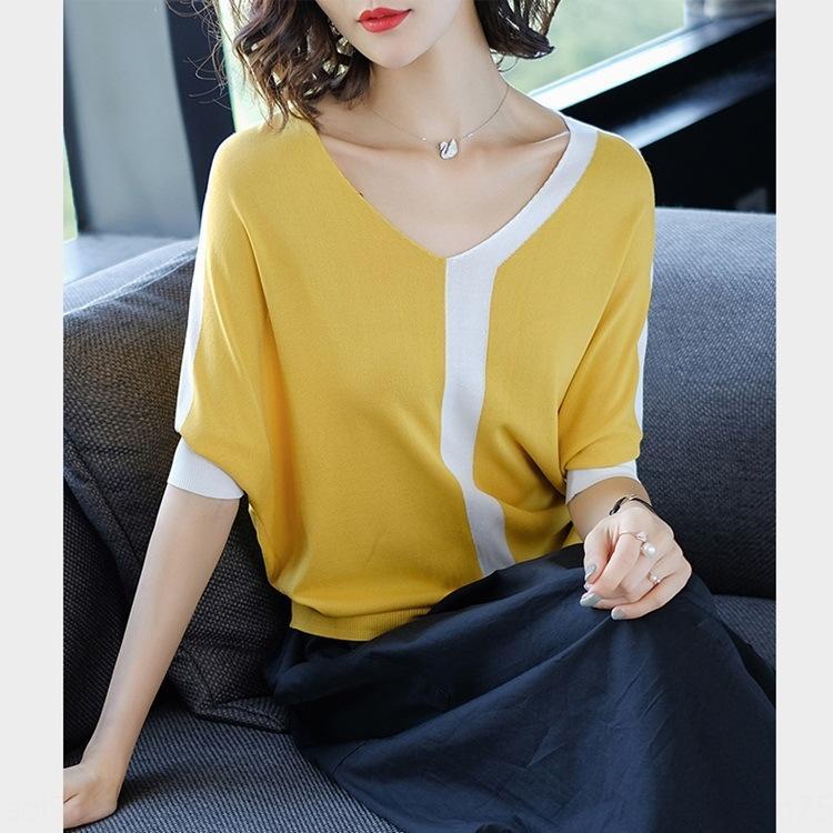 J6RyQ grandi dimensioni estate delle donne nuova camicia di colore semplice t- contrasto mazza da v-collare pipistrello breve tempo di ghiaccio manica biancheria T-shirt da donna