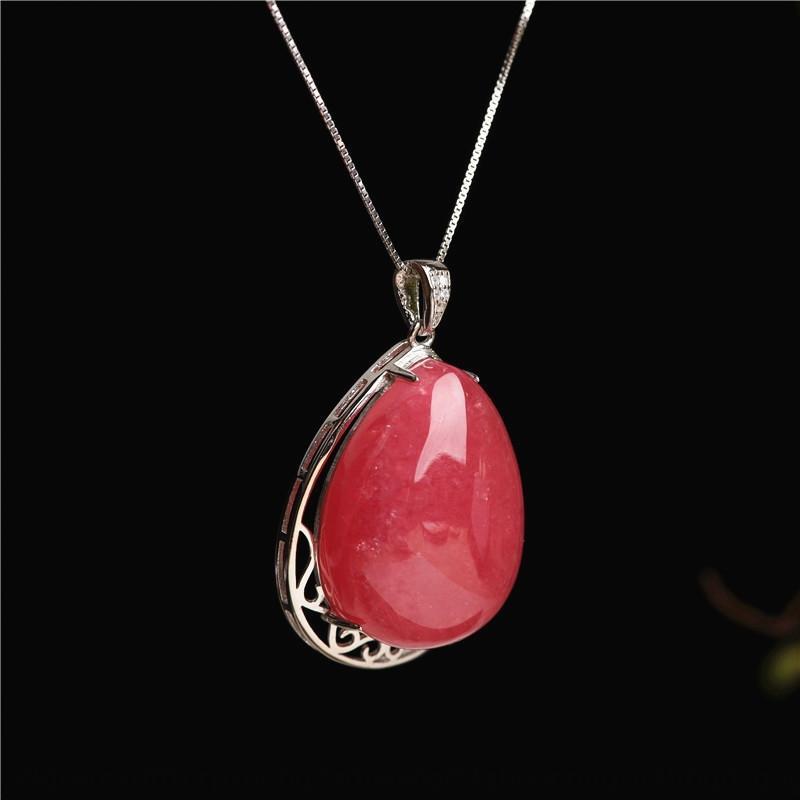 Jiuya piedra plata rojo colgante naturales collar de 1 ~ 39 925 Crystal Redstone pendientes de las mujeres de moda r9uFk
