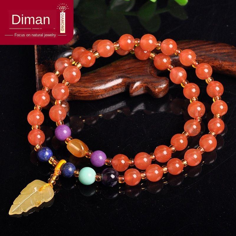 CRRA4 кристаллические орнаменты естественный красный Южной женщин 2 Diy браслет кругов с лазурит пчелиный воск DIY браслет