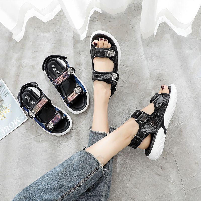 SWYIVY Microfibre sandales plates Chaussures Femme Crochet boucle Fashion 2020 Sandales d'été pour les femmes Vente chaude Chaussures Casual femme peu profonde