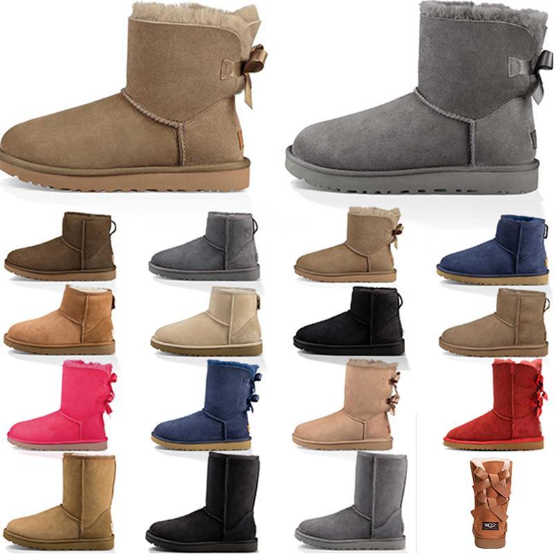 Populaires bottes de cravate d'arc d'hiver des femmes des bottines de botte classique moitié noir gris bottillons marine marron bleu rouge femmes bottes fille