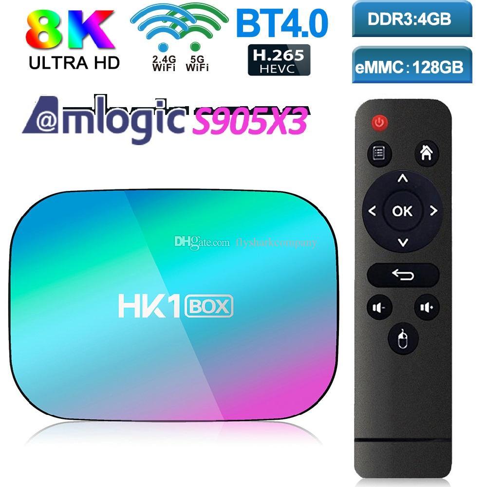 HK1 Android 9.0 TV BOX Amlogic S905X3 4GB+32GB/128GB 8K caja de tv android Dual Wifi 2.4G+5G PK X96 Air H96