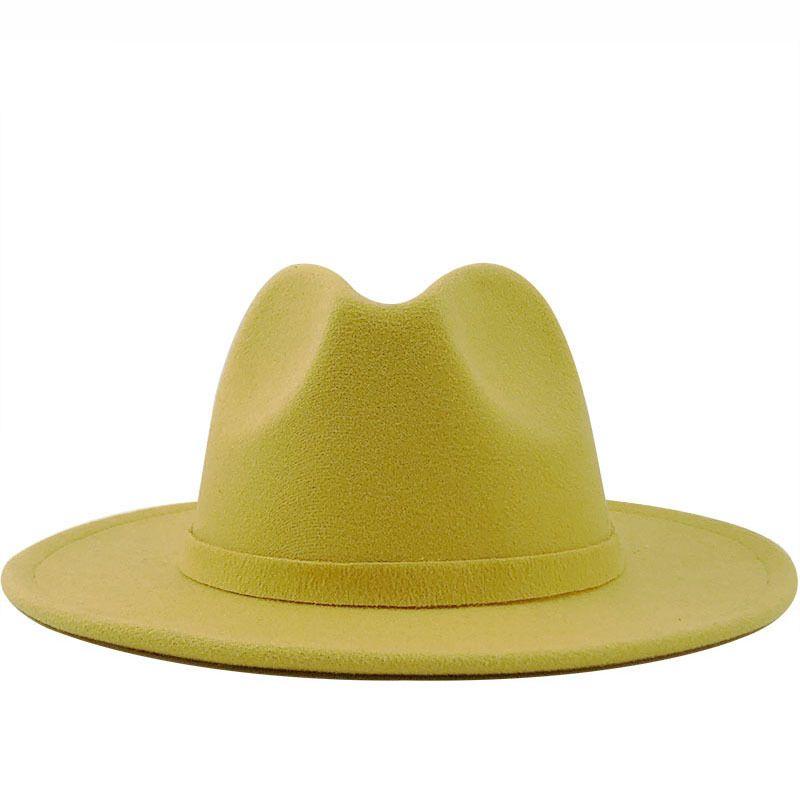 رجل إمرأة صوف بريم واسعة جاز فيلت فيدورا قبعات النمط البريطاني حزب تريلبي الرسمي بنما كاب أسود أصفر اللباس قبعة 56-58-60CM