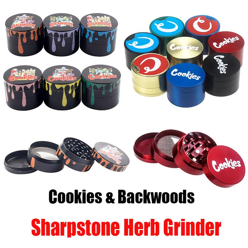 Backwoods Cookies Sharpstone Herb Grinder Drop 40mm 50mm 55mm 63mm Colorful 4 Parts Layers Zinc Alloy Tobacco Smasher Crusher Hand Muler