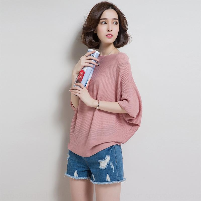 manches été dynvu glace T-shirt de soie T-shirt de printemps féminin et été nouveau style coréen chauve-souris lâche à manches courtes mince haut pull-over