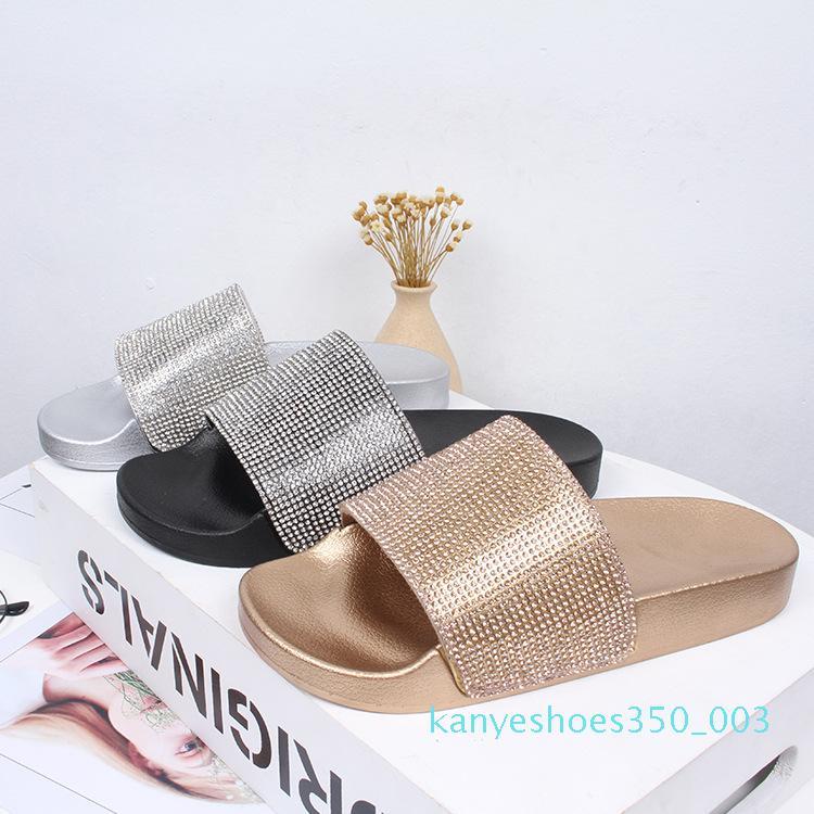 2020 Rhinestone Mujeres Zapatillas chancletas de verano Diapositivas mujeres zapatos de cristal de diamante de Bling Beach Slides Sandalias Zapatos Casual Resbalón k03