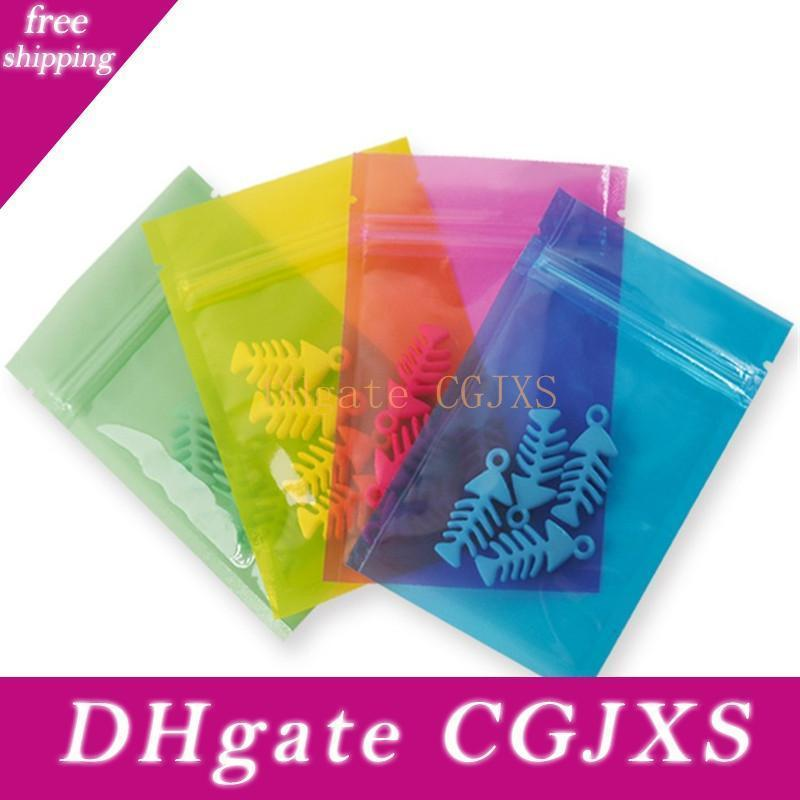 Transparent Clear Pink Blue Small Zipper Bag For Trinkets Diy Gift Display Packing Food Coffee Tea Bag Lx2453