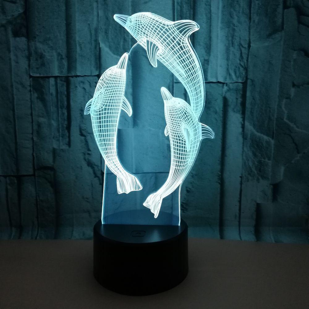 Colorido Remote Control 3d lâmpada Dolphin 3D pequeno Night Lights visão levou luzes de Natal Holiday Gift