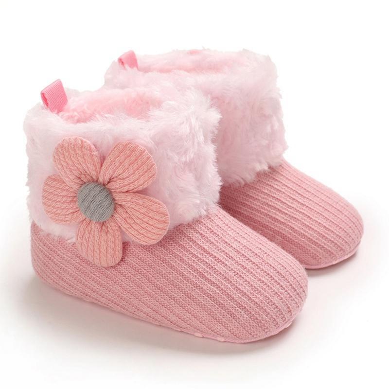 Inverno Newborn Baby Boy Boots Flower Girl Warm Snow Boots cotone lavorato a maglia casuale antiscivolo scarpe morbide Sole primo camminatore 0-18M Hot