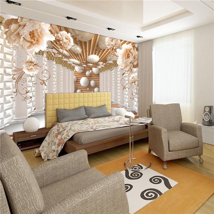 3D-Tapeten-moderne abstrakte Kunst Rom Spalte Blumen Fototapeten Wohnzimmer Study Kulisse Wand-Papier-Ausgangsdekor 3D-Fresko