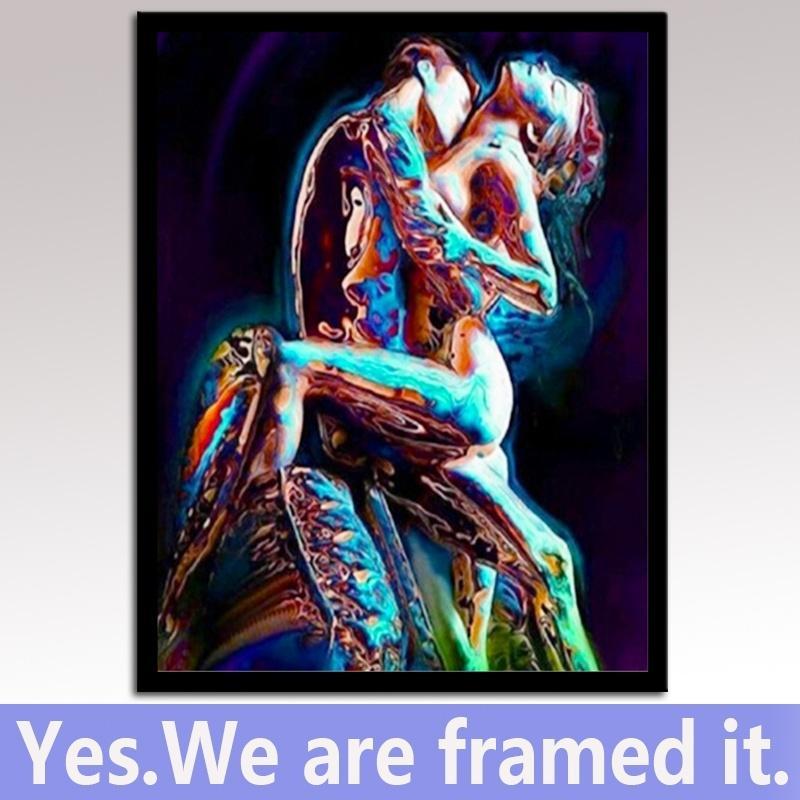 Incorniciato pronto ad appendere arte della parete della tela di canapa Stampa Nudi uomini e le donne della pittura a olio per la decorazione domestica Camera