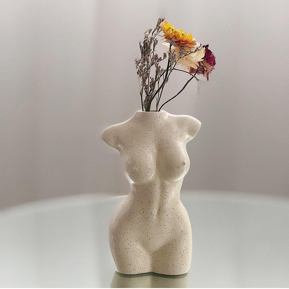 Körper-Kunst-Design Blumen-Vase nackte Frau-Skulptur Blumenvase kreative Hobby Vase Pflanzmaschine Wohnaccessoires Zier