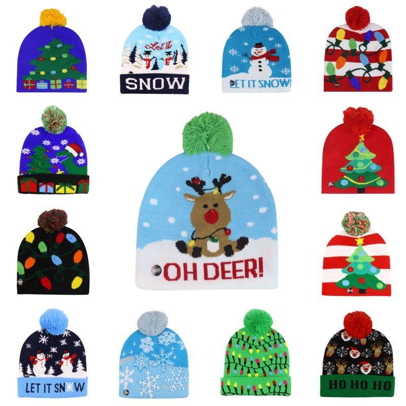 LED Light Christmas Hat Winter Warm Beanie Sweater Knitted Light Up Hat New Year Xmas Luminous Flashing Knitting Crochet Hats DWC988