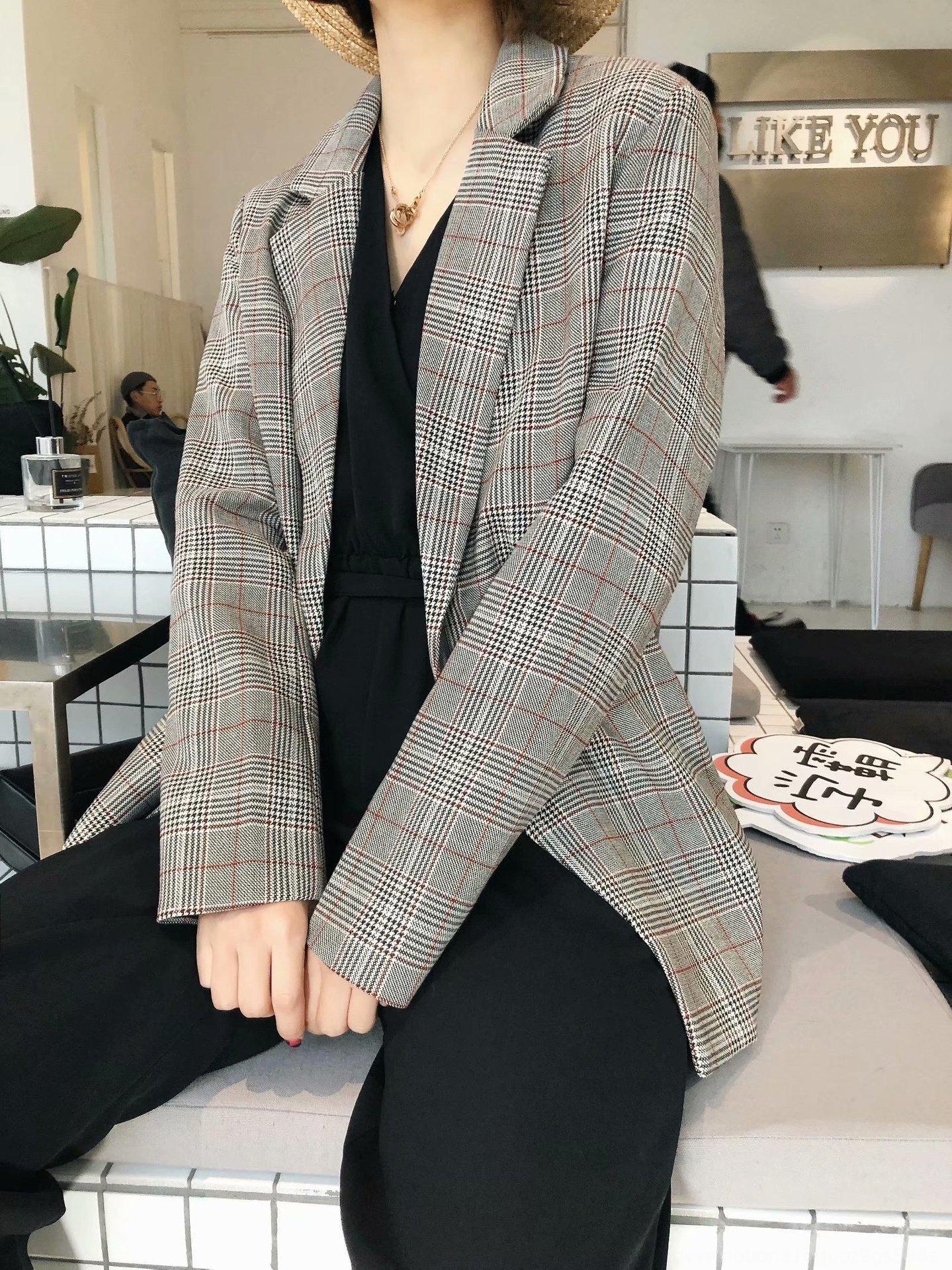 M2898-Korece için eXqXU kadın kadın giyim 2020 ceket ve Bahar ceket yeni ekose kemer takım Sonbahar