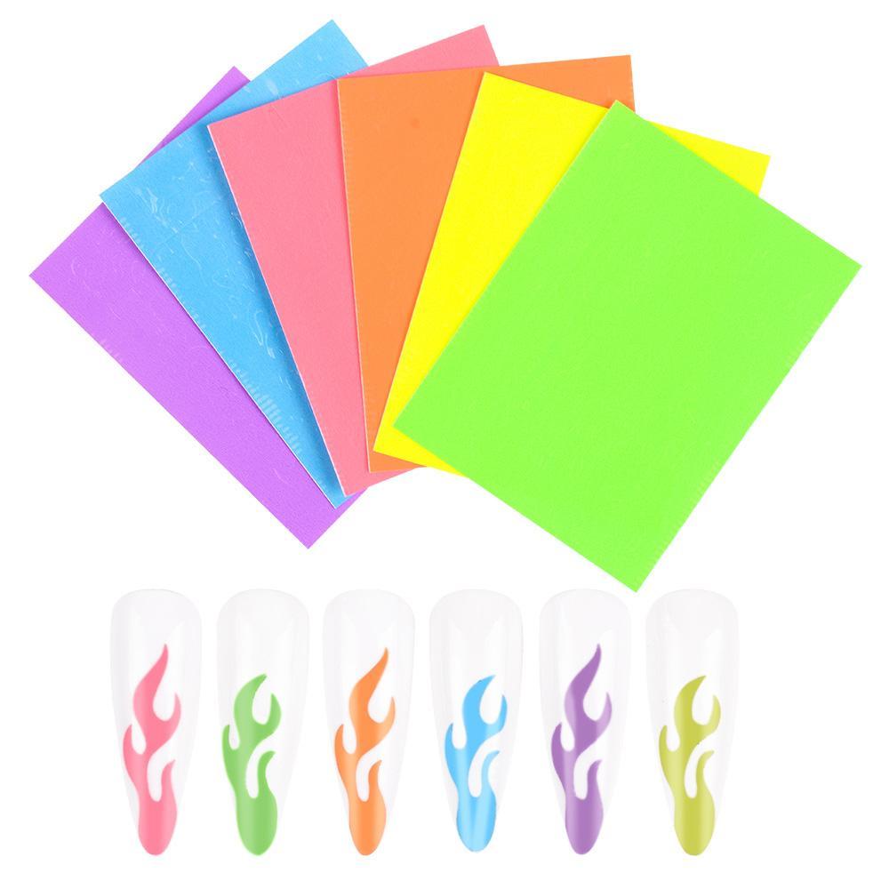 6 colores / Set fluorescente Llama uñas Pegatinas luminoso Aurora autoadhesivas etiquetas del arte del clavo