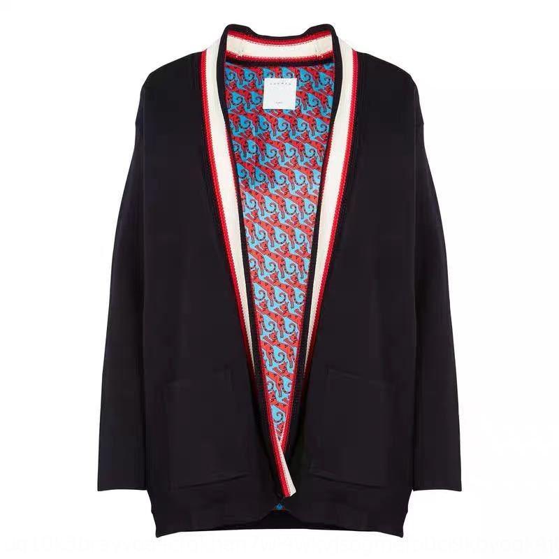 Fadan S пальто Элегантный кардиган весной и летом новый дом моды средней длины 2020 керлинг животное напечатанный трикотажные полосатые пальто Ubjiz