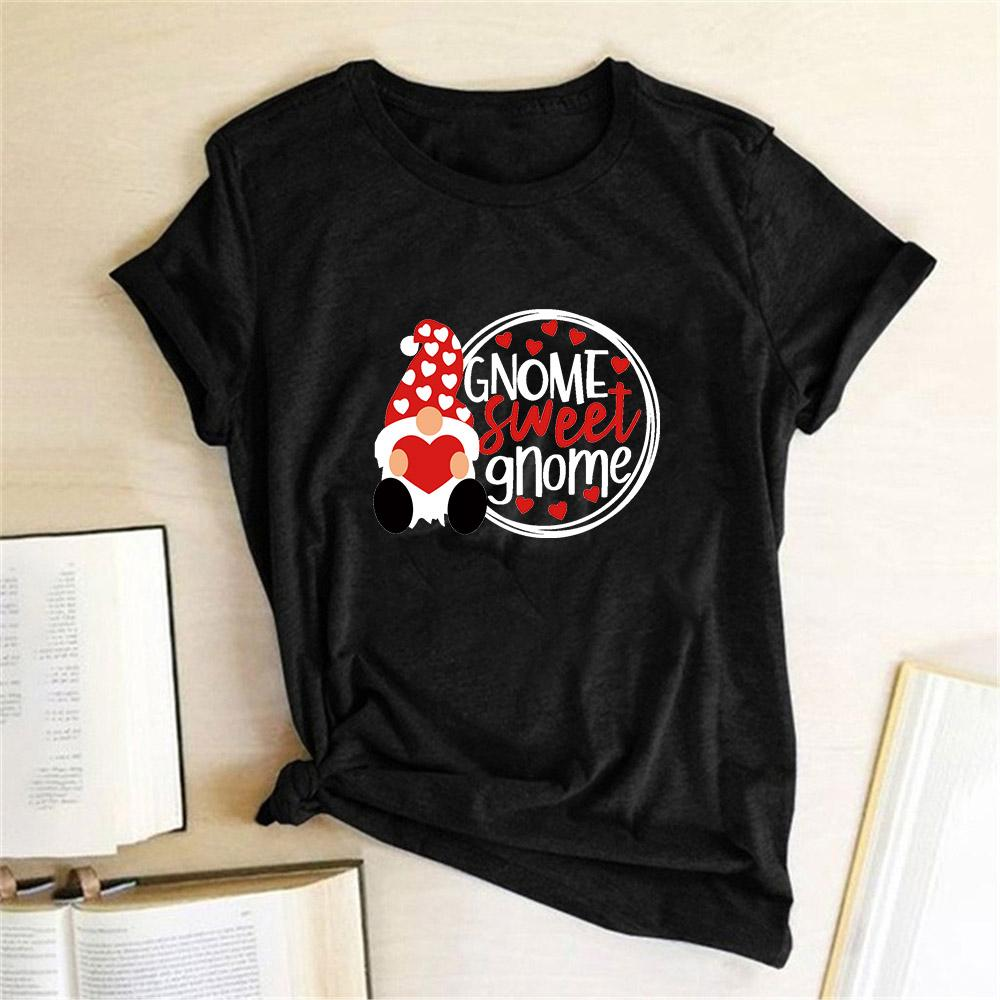 Parejas 2020 mujeres de la camiseta del gnomo dulce de impresión GNOME camiseta divertida Femme manga corta de la mujer linda Camisas del regalo del día de San Valentín