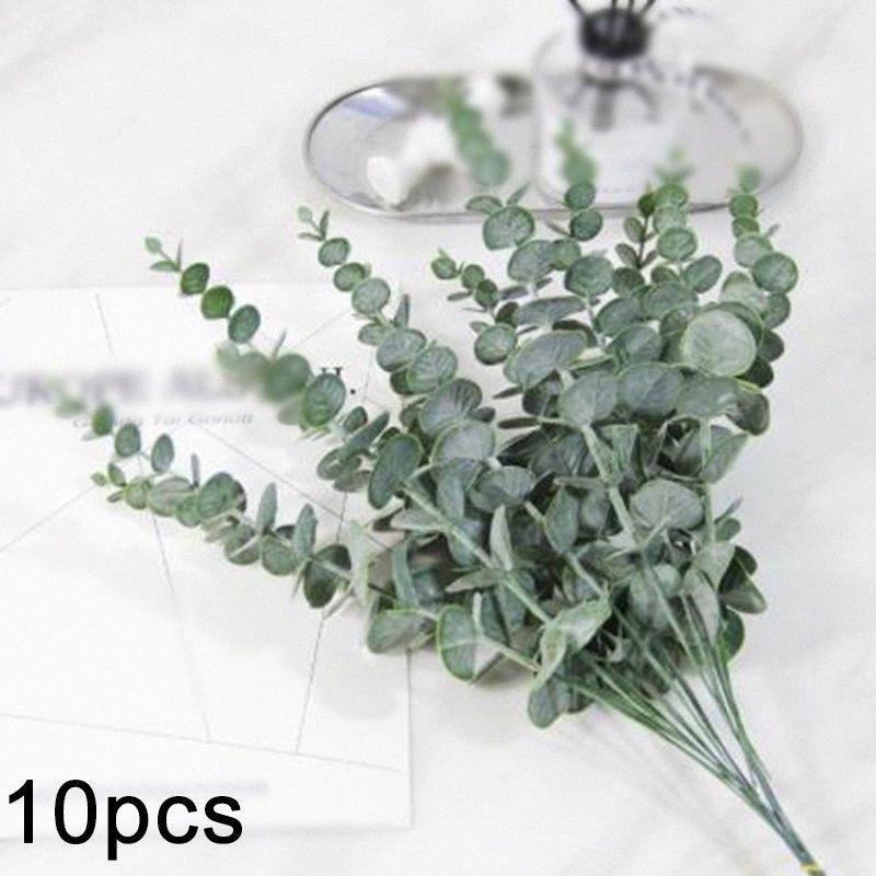 Plantes artificielles 10x Faux argent Feuille Eucalyptus Vert Fleurs Accueil Décoration 55MD #