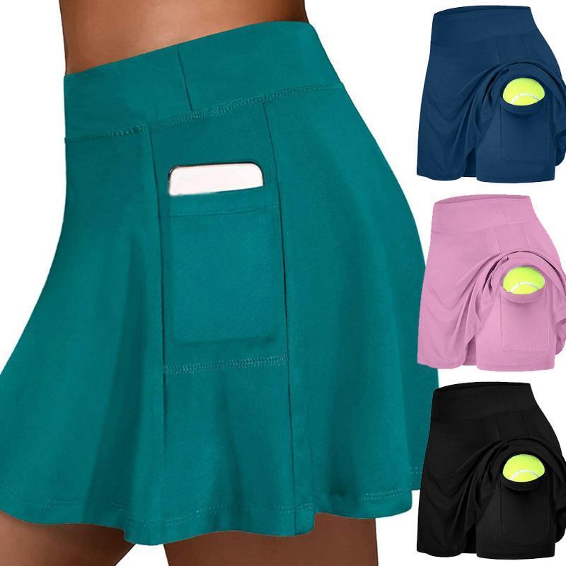Verano pantalón corto mini falda faldas activa de la mujer Running entrenamiento deportivo Campo de bolsillo elástico Tenis Yoga Faldas L717