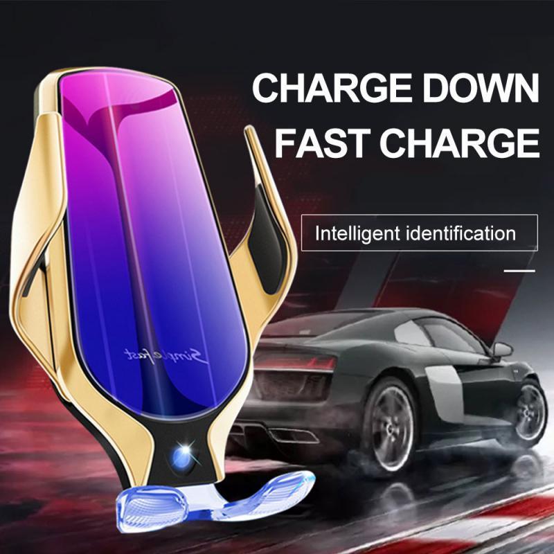 아이폰 안드로이드 에어 벤트 전화 홀더 360도 회전 10W 고속 충전 DHL 무료 자동차 홀더 R1 무선 자동차 충전기 자동 클램핑