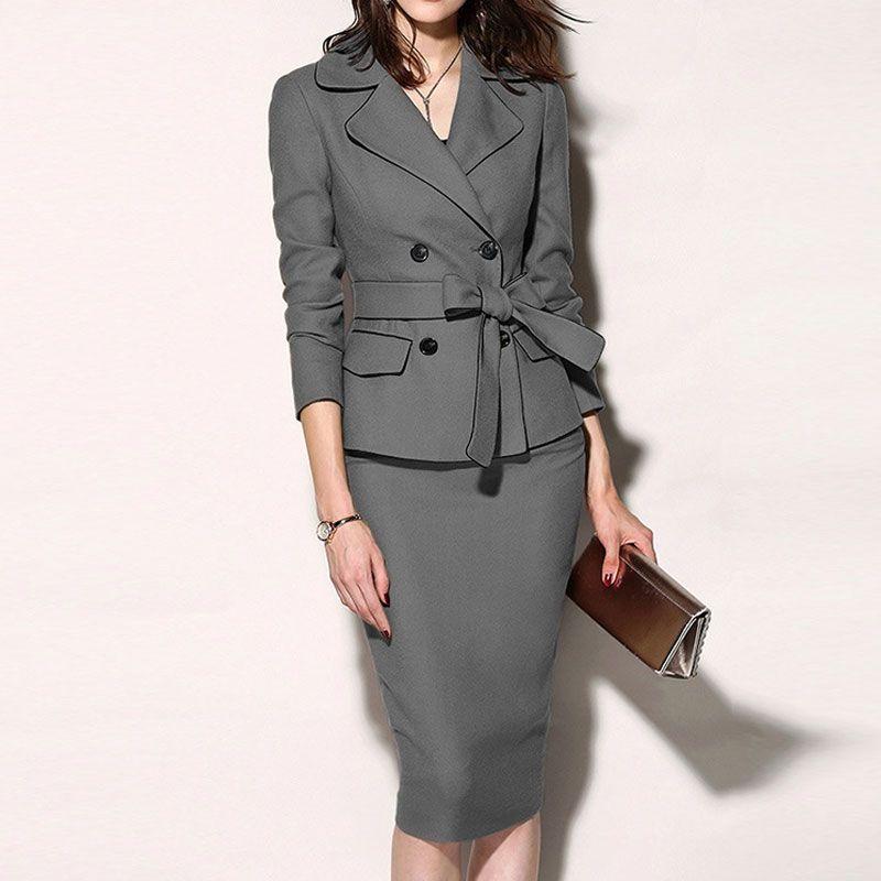 Двубортный костюм платье Новый лук Пояс Твердая костюм цвета отворотом Женщины 2020