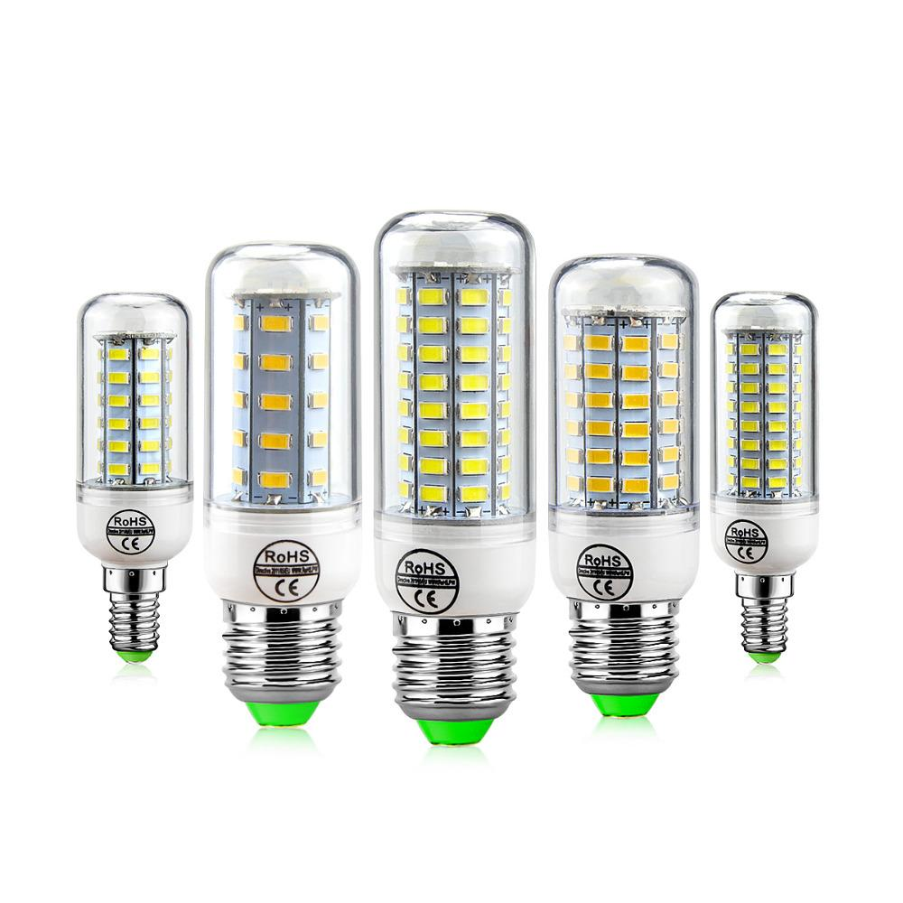 E27 E14 24W SMD5730 LED Lâmpada 7W 12W 15 W 18W 220V 110V Luzes de milho LED Bulbos Candelabro 36 48 56 69 72 LEDs