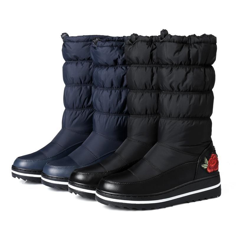 Botas 2021 Invierno Moda Down Snow Bordado Casual Student Cotton HX-97