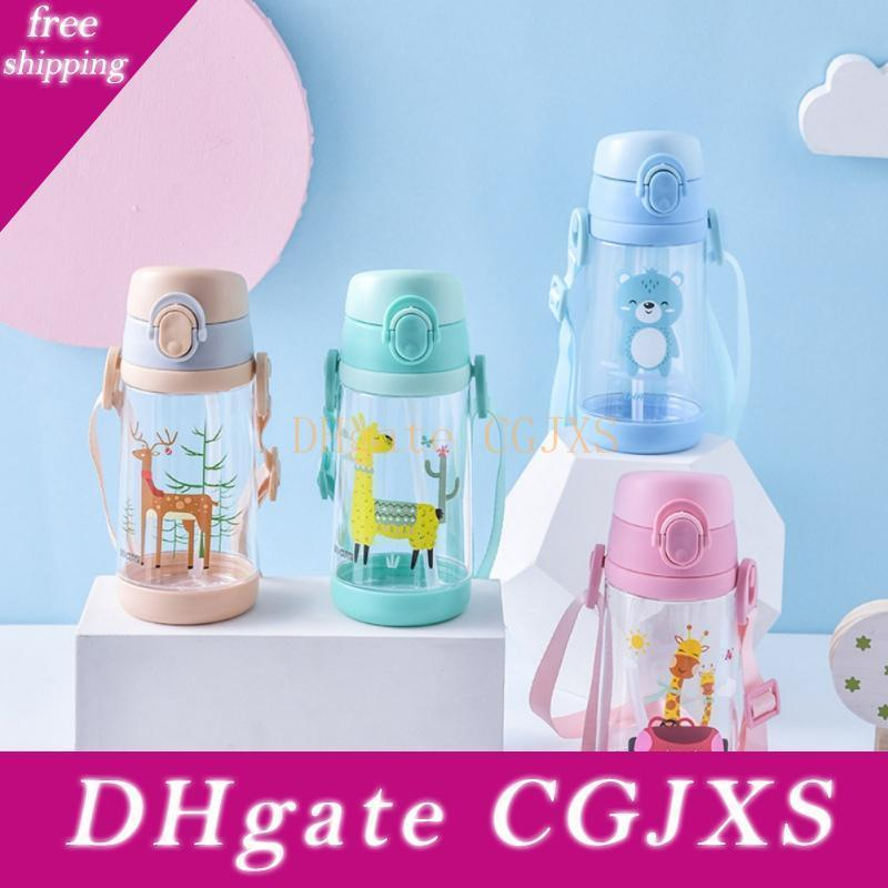 Miúdos dos desenhos animados copo bebendo do bebê Estudante Água potável Copo Com Straw Criança Esporte Fora Strap Beber 500ml Cup