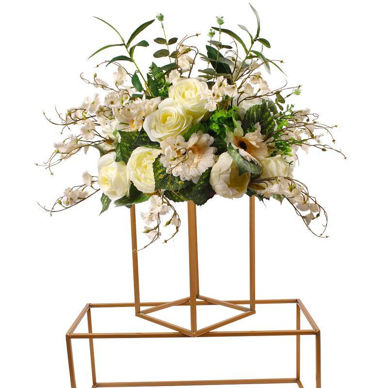 10ps Flower Vase metal rack Gold Column Stand Metal Road Lead Wedding Centerpiece Flower Rack For Grand Event Party Decoration