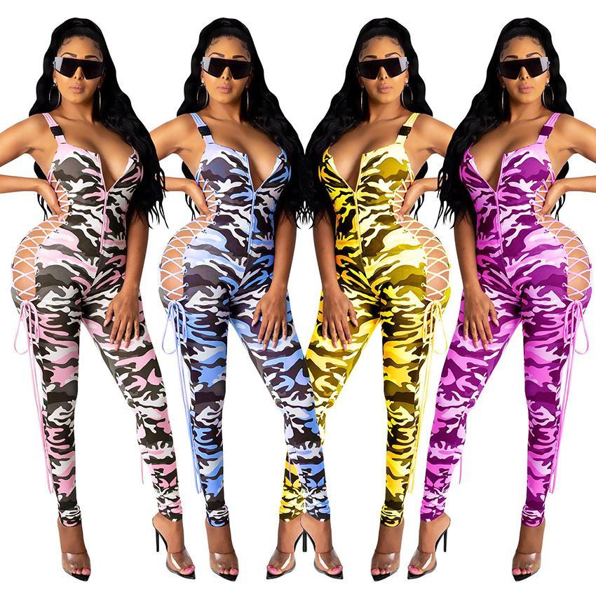 Sexy Camouflage Druck mit V-Ausschnitt Frauen-dünne Strampler 2020 heiße Verkaufs-schnüren sich oben reizvolle Nachtclub Jumpsuits Sports Party New Arrivals