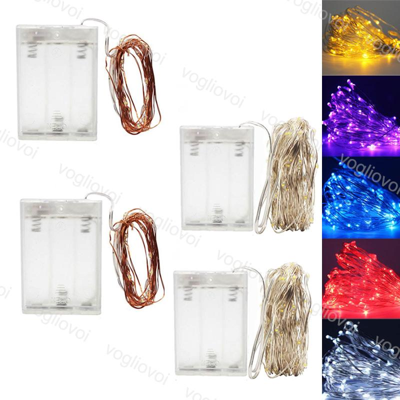 LED Strings Flashing Multicolour Copper Silver 5M 10M Holiday Lighting For Fairy Christmas Tree Garland Wedding Party Decoration EUB