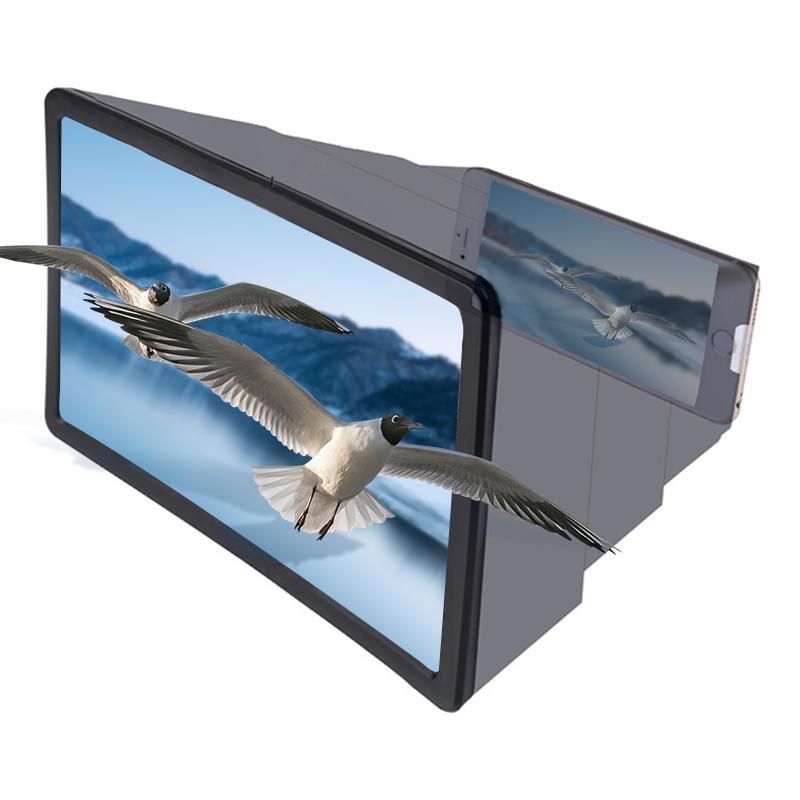 8 inç 1.5x Cep Telefonu Ekran Büyüteç Optik 3D HD Smartphone Amplifikatör Esnek Film Video Masaüstü Masa Stand