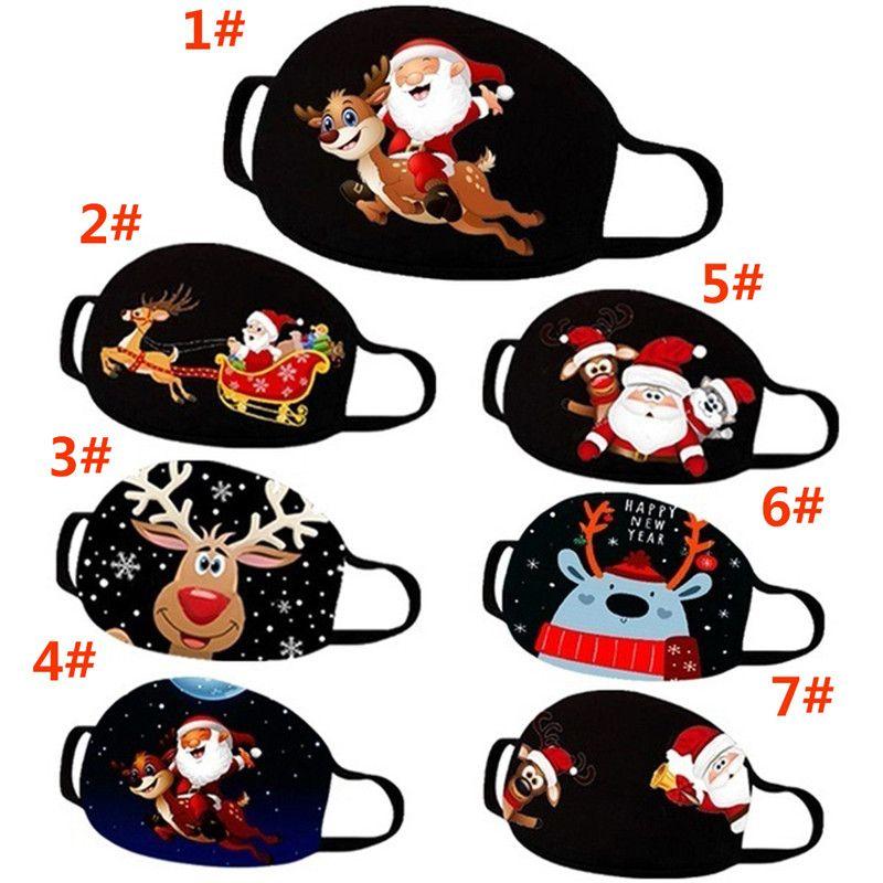 Noel Baskı Maskesi Kullanımlık Yıkanabilir Nefes Çok Amaçlı Anti Toz Noel Baba Elk Çocuk Yetişkin Bez Xmas Parti Ağız Kapak DA997
