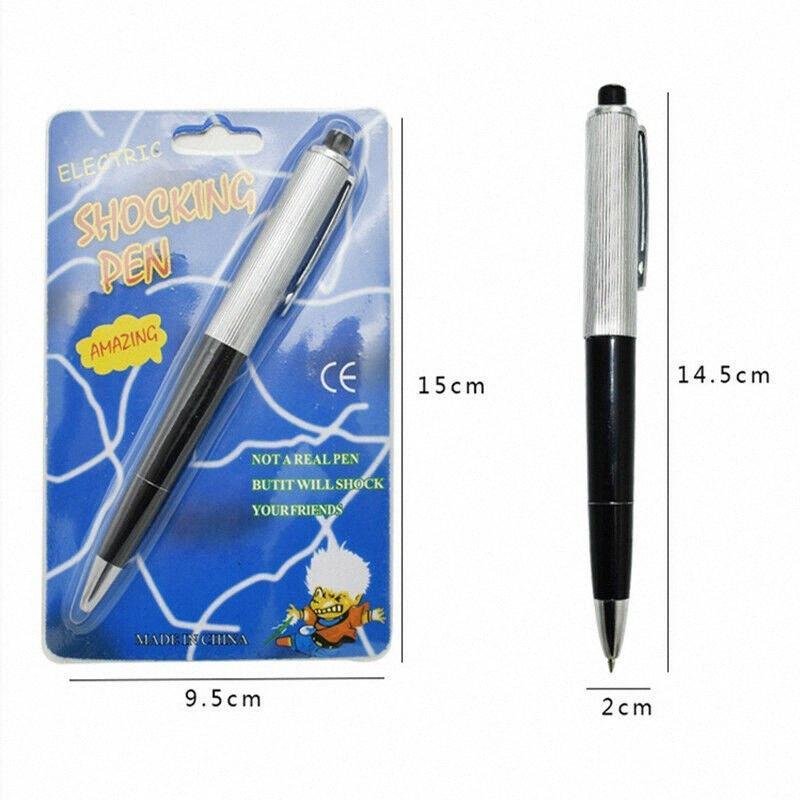 Pen avec la boîte d'emballage Avril Fools Day Nouveaux stylos à bille exotique Pen Shocking choc électrique jouet cadeau Prank jouets Joke Fun Trick R447 #