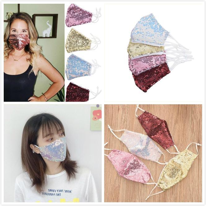 Máscara de la moda de Bling Bling de las lentejuelas máscaras protectoras a prueba de polvo PM2.5 boca cubierta lavable reutilización de la mascarilla del elástico Earloop Boca Ciclismo