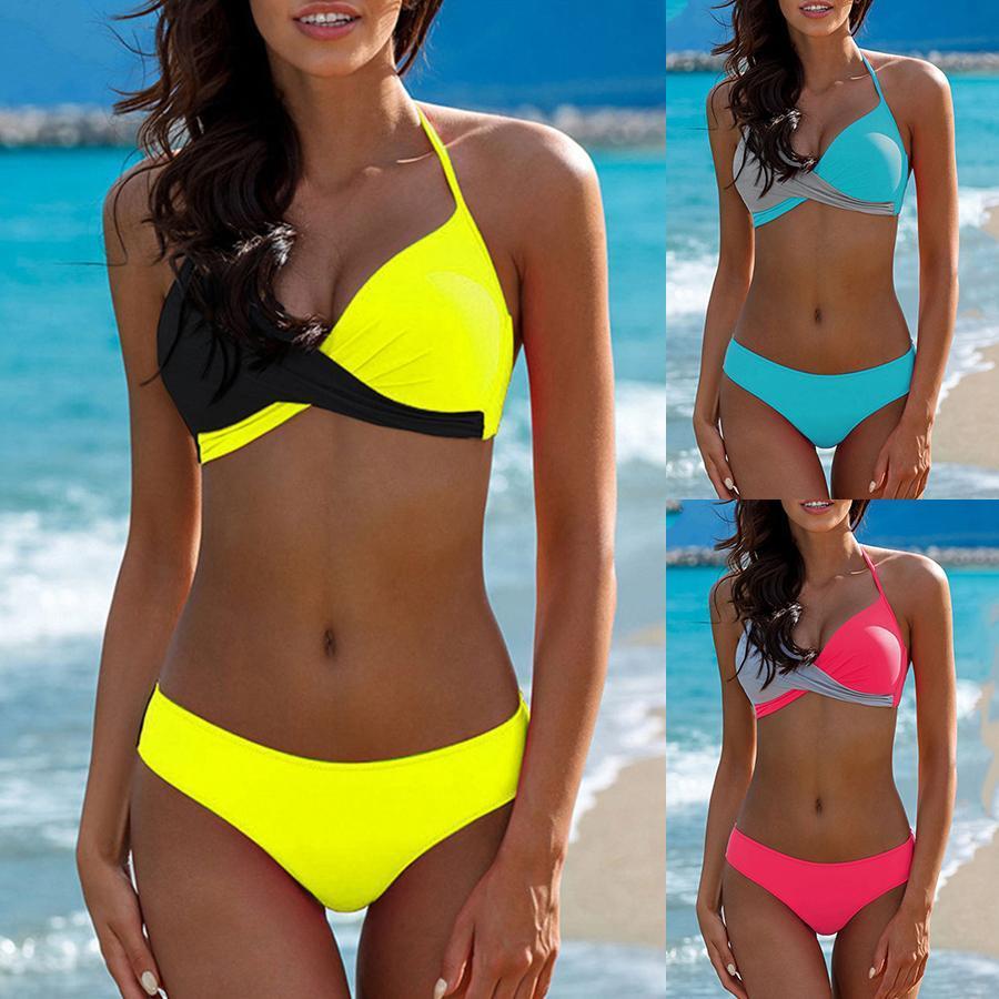 Atractivo empuje hacia arriba el traje de Bikini Mujeres biquinis feminino mujer traje de baño tanga Traje de baño más del tamaño Natación Bikinis Set XXXL