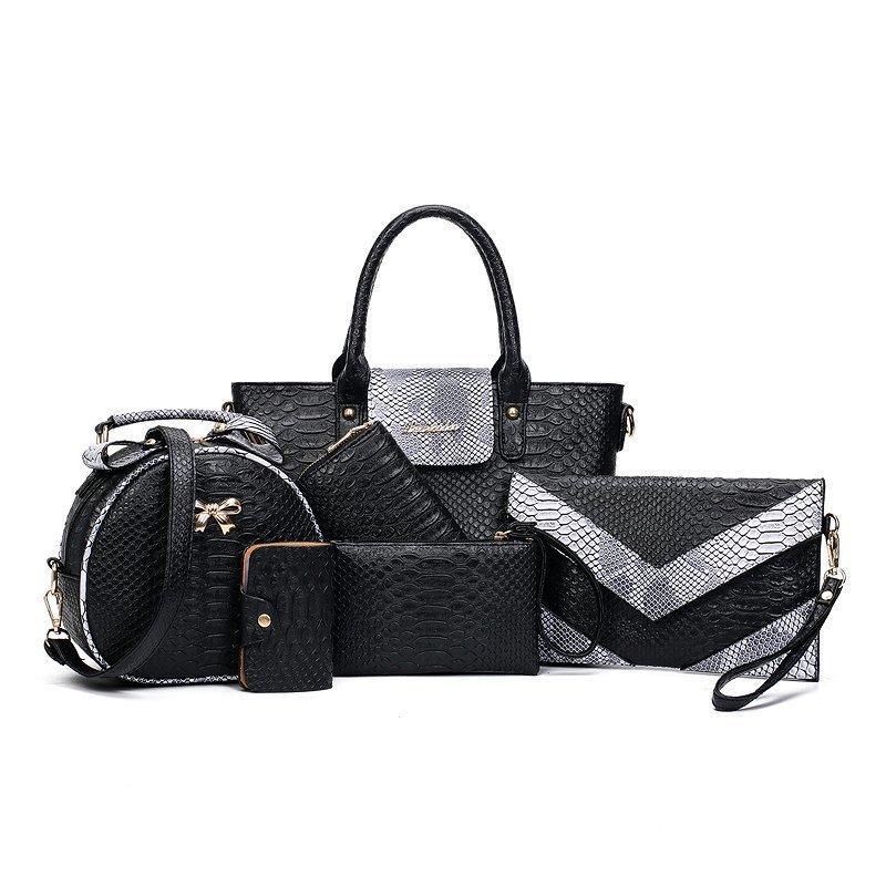 Kadınlara 2020 Yeni Cüzdanlar Ve Çanta Lüks Tasarımcı Moda Omuz Çantası Seti Lüks Çanta ile Cüzdan için toptan 6PCS Çanta