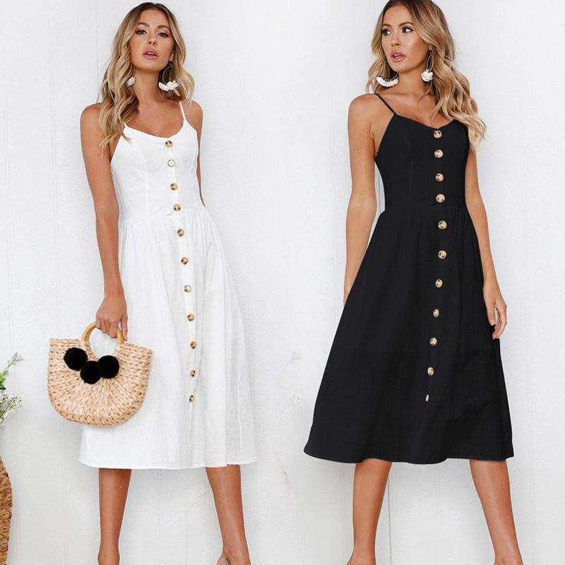 Vestido de verano Backelss mujeres sin mangas atractivo de la manera 2019 Botón Negro Blanco vestido ocasional del tirante de espagueti de los vestidos midi Vestido de tirantes