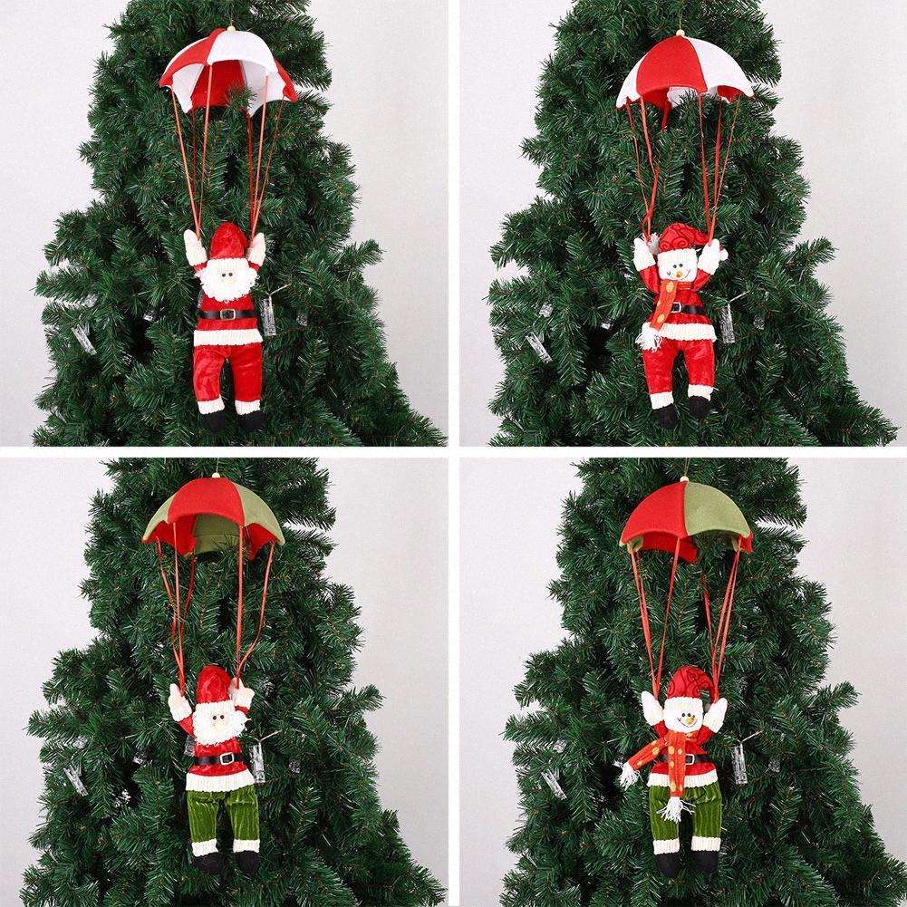 Universal-Weihnachtsmann Schneemann Parachute hängende Verzierung Weihnachtsgeschenk cosz #