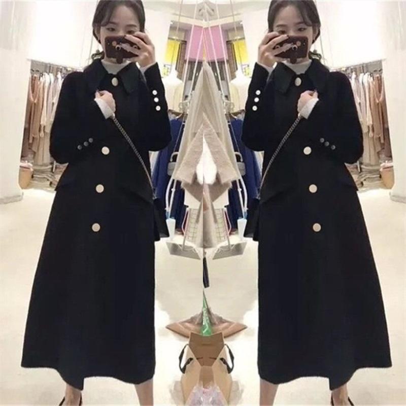 RUfxR JzB5G Hepburn şık ceket kadın yaka yün kürk yün orta boy Overknee yün Yün ince siyah Mori bebek ceket